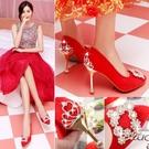 中式秀禾婚鞋女新品 紅色高跟鞋中跟細跟結婚紅鞋敬酒新娘鞋子
