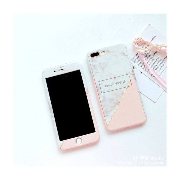 【萌萌噠】iPhone 8 / 8 Plus  新款粉白大理石保護殼 360度全包 前蓋+後殼+鋼化膜套裝組 手機殼
