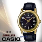 CASIO手錶專賣店 卡西歐 MTP-VS01GL-1B 指針男錶 皮革錶帶 黑x金 太陽能 防水