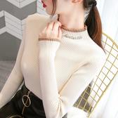 毛衣女 半高領毛衣打底衫女2019洋氣秋冬新款內搭修身加厚針織衫加絨上衣【快速出貨】