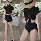 比基尼泳衣 韓國Hazzimall超洋氣款 打結上衣 高腰三角褲分體泳衣顯瘦比基尼 歐萊爾藝術館
