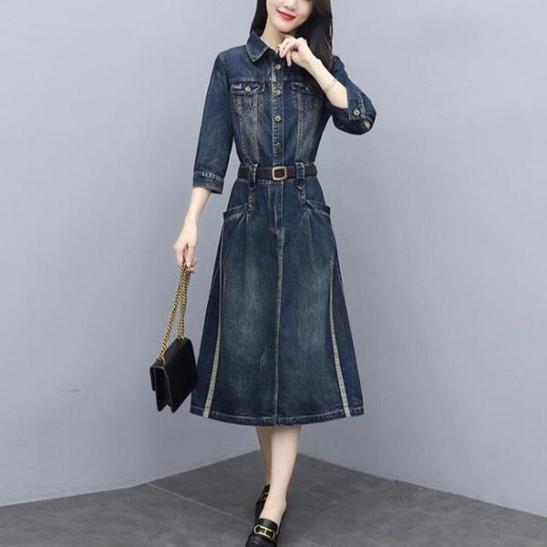 長袖洋裝 新款秋裝韓版氣質收腰顯瘦長袖牛仔連身裙 女過膝中長款襯衫裙