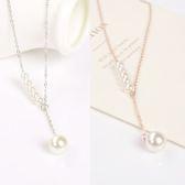 Quenby 甜美珍珠配飾吊墜鎖骨細項鍊/頸鍊