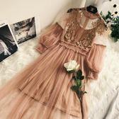 鏤空蕾絲立體花朵夢幻網紗氣質立領燈籠袖高腰兩件套仙女連衣裙女  無糖工作室