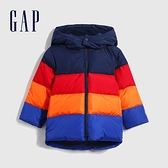 Gap男幼童 彩色條紋絎縫式連帽羽絨外套 593086-彩色拼接