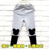 【韓版童裝】彈力韓國棉立體熊熊貼布內搭褲-灰【BD16100613】