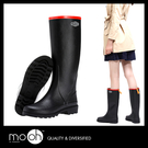 雨靴 長筒雨鞋 素面 歐美皮飾拚色防水女...