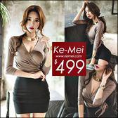 克妹Ke-Mei【ZT49909】歐洲站 時髦名媛感深V修身側綁帶深V上衣+裙套裝