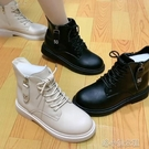 流行短靴 秋季新款馬丁靴女英倫風百搭短靴瘦瘦靴黑色帥氣港風圓頭單靴 洛小仙女鞋