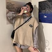 日系學院風襯衫襯衣背心毛衣馬甲疊穿兩件套裝女上衣秋【小酒窩服飾】