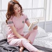 【熊貓】短袖長褲睡衣女夏純棉套裝居家運動家居服