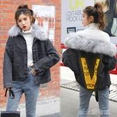 秋冬款韓版重工燙鑽小個子加絨加厚大毛領牛仔棉衣學生外套女 新北購物城