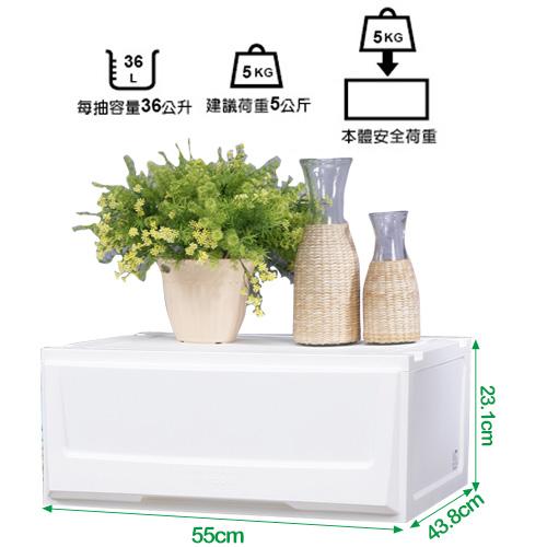 特惠-《真心良品》超大積木系統式單抽收納櫃36L (3入)