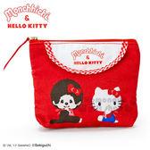 〔小禮堂〕Hello Kitty x Monchhichi 帆布面紙化妝包《紅.對坐.格紋》零錢包.化妝包 4901610-32430