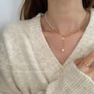 設計感珍珠鏈條拼接項鏈2021年新款女輕奢小眾簡約氣質鎖骨鏈配飾