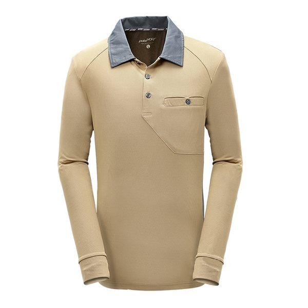 PolarStar 男 竹炭吸排長袖POLO衫『棕』P17215 機能衣│刷毛衣│保暖衣