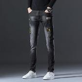 牛仔褲男修身黑色刺繡圖案長褲秋天彈力破洞直筒休閒褲子韓版 雙十一全館免運