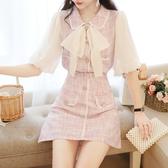 VK精品服飾 韓系氣質蝴蝶結上衣顯瘦半身裙套裝短袖裙裝