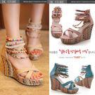 串珠波西米亞民族風超高坡跟厚底涼鞋