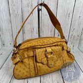 BRAND楓月 CELINE 俏皮橘黃 珍稀皮革 鴕鳥皮 單肩背 手提包