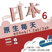【日本旅遊】 6日3.6GB流量 上網 softbank網路卡 每日600MB流量 4G飆網 旅行上網/日本網卡/日本旅遊