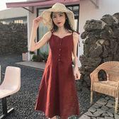 洋裝連身裙-夏秋季新款復古V領單排扣吊帶格子連身裙收腰顯瘦系帶中長背心裙女Y25779