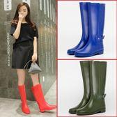 英倫經典高筒防水雨靴女士膠鞋水靴女水鞋套鞋防滑雨鞋女 綠光森林