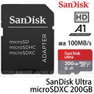 SanDisk Ultra micro SDXC 200GB 100MB/S 667X A1 高速記憶卡 附轉接卡(免運 公司貨終身保固) 200G SDSQUAR-200G
