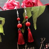 古典時尚紅朱砂流蘇耳環復古浪漫玫瑰花朵耳墜女氣質百搭新娘耳飾