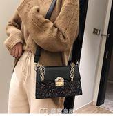 單肩包網紅小黑包包女新款潮韓版chic鍊條斜背包百搭質感單肩小方包  麥吉良品