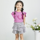 典雅粉紫蕾絲口袋短T 春夏童裝 女童棉T 女童上衣 女童短袖 女童T恤