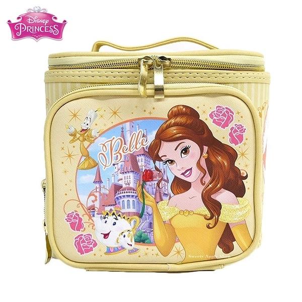 日本 迪士尼公主系列 美女與野獸 貝兒 大容量 手提化妝箱 / 化妝包 (附鏡)【 貝兒款 】
