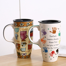 馬克杯 水杯 帶蓋喝水杯子大容量 咖啡杯 家用潮流 情侶陶瓷杯 茶杯