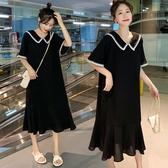 洋裝 孕婦裝夏裝2020新款韓版中長款連衣裙夏天孕婦寬鬆大碼短袖孕婦裙 歐歐
