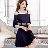 春夏新款韓版大碼顯瘦時尚休閒女裝潮流百搭純色洋裝  快速出貨