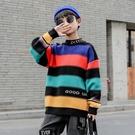 條紋男孩長袖韓版毛衣 男寶寶毛衣套頭衫上衣 男童秋冬潮流洋氣打底衫 時尚潮牌男中大童針織衫