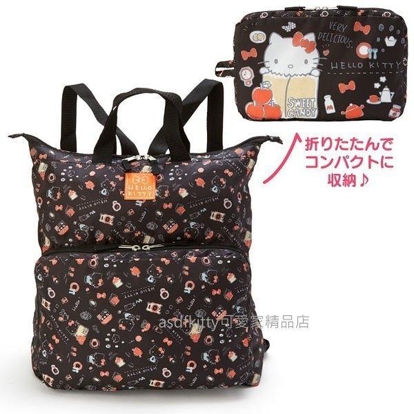 asdfkitty*KITTY黑底紅蘋果可折疊收納後背包/手提袋/購物袋-日本正版商品