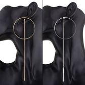 鍍18K金耳環-時尚大方大圈圈長款女耳飾2色73ns24【時尚巴黎】
