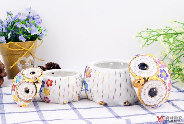 【堯峰陶瓷】貓頭鷹陶瓷鏤空金薰香盒(一大一小) 雙入水煮蛋杯 飾品置物 桌面擺飾 多用途