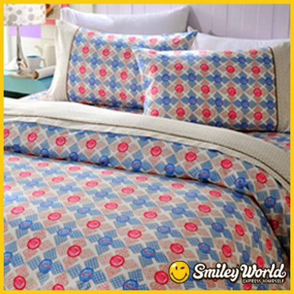 【SmileyWorld‧微笑世界】《快樂旋轉》標準雙人精梳棉床包兩用被套四件組(兩色)