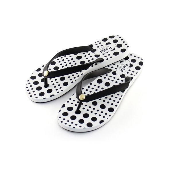 Paidal 水玉圓點夾腳涼拖鞋-黑
