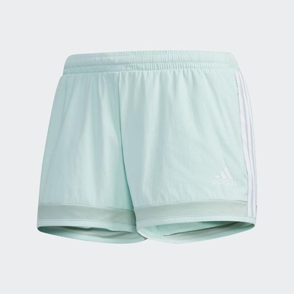 ADIDAS 3 STRIPES 女裝 短褲 慢跑 訓練 健身 拉鍊口袋 透氣 舒適 粉綠【運動世界】DY8662