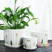 花盆 花盆陶瓷大號帶托盤家用小中大簡約特大創意綠蘿多肉花盆T 22色
