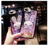 OPPO R15 R11S 手機殼 奢華 時尚 夢幻 閃粉 流沙殼 卡通 可愛 水鑽 兔子 保護殼 全包 軟邊 硬殼