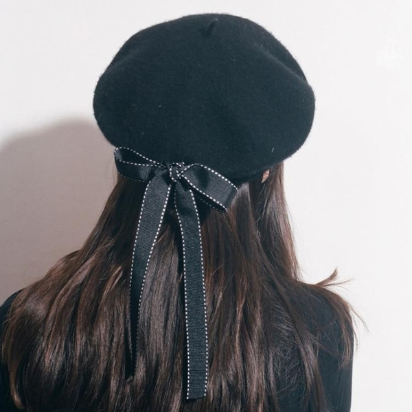 貝雷帽羊毛畫家帽日系黑色休閒百搭【奇趣小屋】