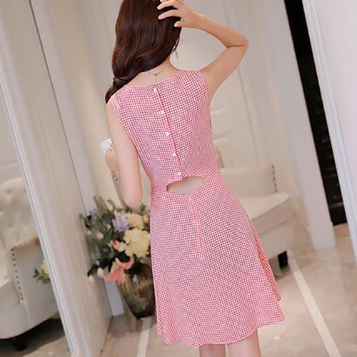 春夏新款韓版顯瘦方格女裝修身大碼無袖時尚百搭連衣裙  0021H  彼得麗絲