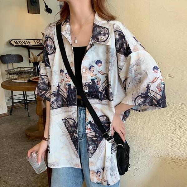 短袖襯衫女外穿復古港味百搭小眾設計感ins冷淡風襯衣很仙的上衣