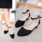 低跟鞋 涼鞋2020夏季新款防滑百搭低跟粗跟一字扣帶鏤空