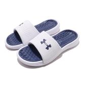 Under Armour UA 拖鞋 W Playmaker Fix 白 藍 女鞋 運動拖鞋 緩震舒適 涼拖鞋 【ACS】 3000063103