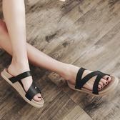 夏季一字拖厚底學生拖鞋女防滑沙灘鞋平底女士涼拖鞋外穿坡跟女鞋免運直出 交換禮物